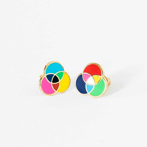 Yellow Owl RGB & CMYK Earrings