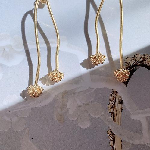 Golden Sprout Flower Earrings