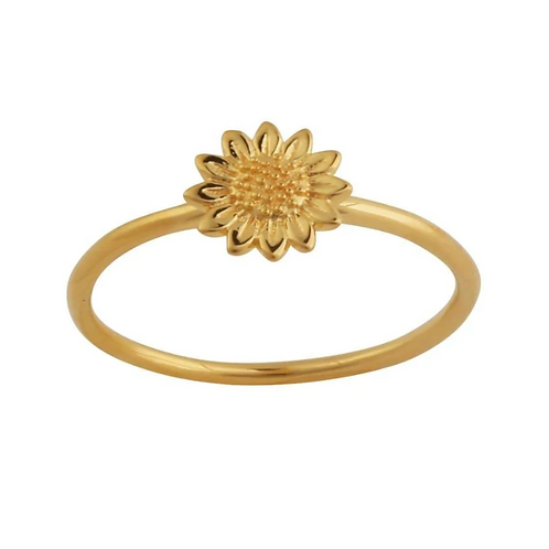 Gold Delicate Sunflower Sterling Silver Ring