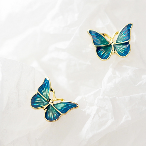 Enamel Teal and Gold-Tone Butterfly Ear Studs - MOOII