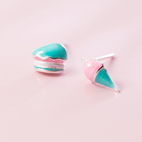 Gelato and Cake Slice Sterling Silver Ear Studs - MOOII