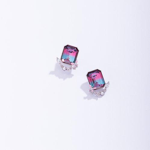 Gradient Retangle CZ Earring - MOOII