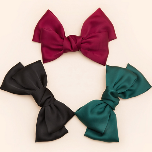 Mooii Hand-Made Fabric Bow Tie French Barrette