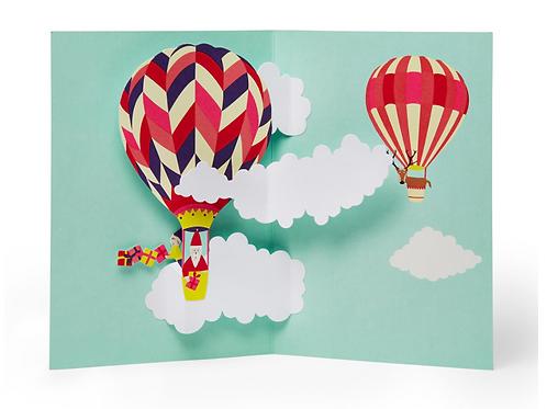 Moma 3d Holiday Cards (8pcs) - Hot Air Balloon Santa