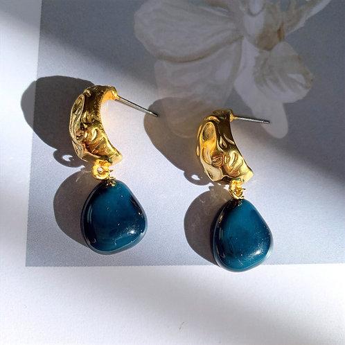 Golden and Cobblestone Dangle Earrings