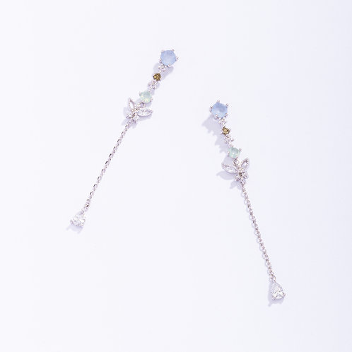 Multicolored CZ with Butterfly Long Stud Earring