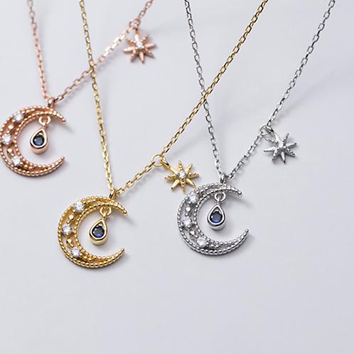 Crescent Blue Drop Necklace - MOOII