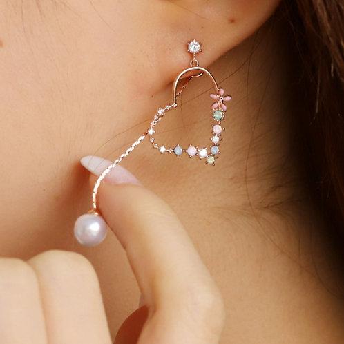 Sweet Love Heart Dangle Earring - MOOII