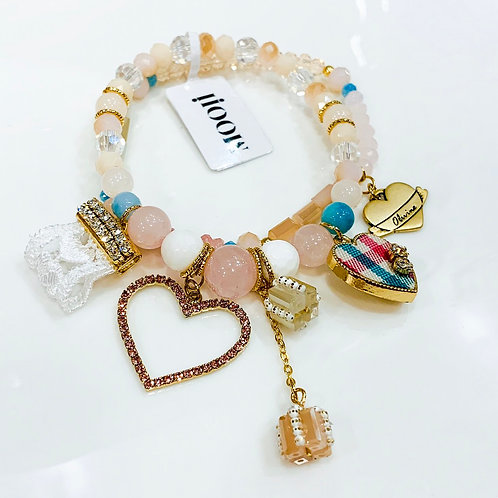 MOOII Handcrafted Bracelet - Pink and Cream Bead with Hearty Crystal Pendant