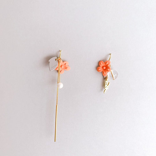 Coral Flower with drop Asymmetric Earring - MOOII