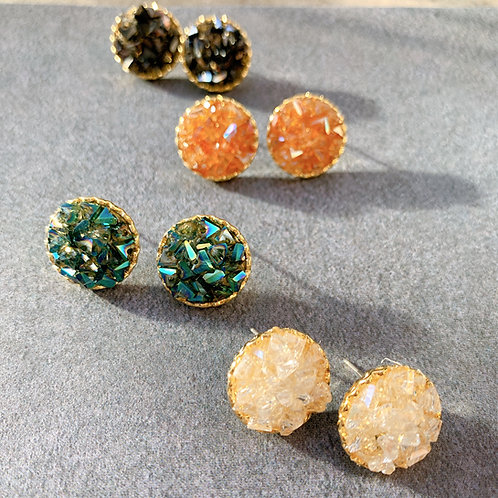 Nature Coloured Crystal Earrings