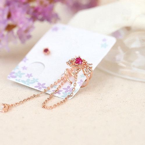 Asymmetrical Ruby Princess Cuff Earring - MOOII