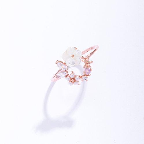 White Sakura Flower Wreath Ring - MOOII