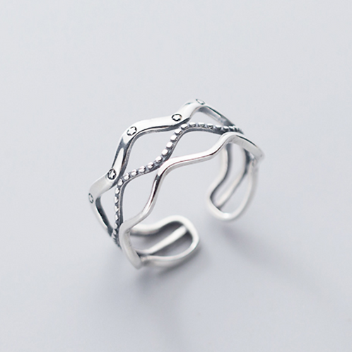 Stars and Waves Sterling Silver Ring - MOOII