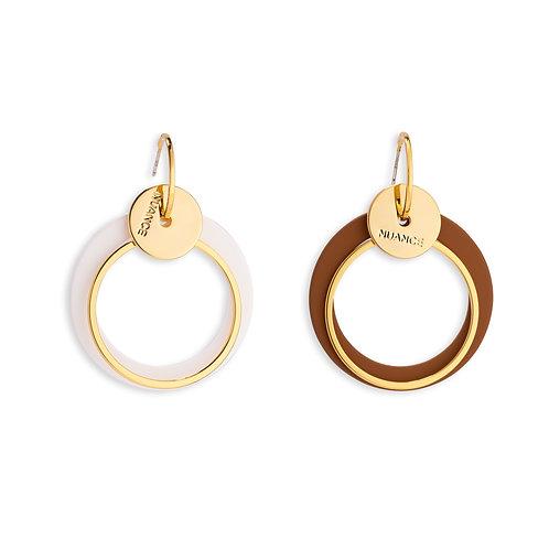 White and Brown  Asymmetric Earrings - MOOII