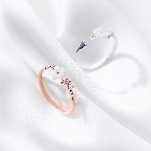 Sakura and Heart Open Ring