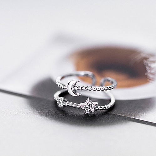 Crescent Moon and Star Double Line Ring - MOOII