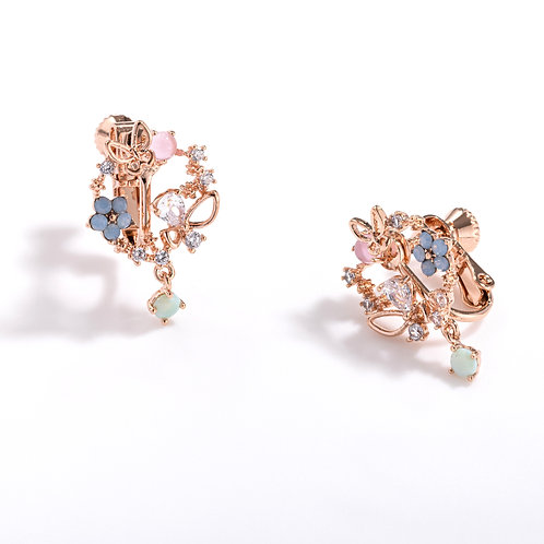 Blossoming Garland Stud Clip on Earrings - MOOII