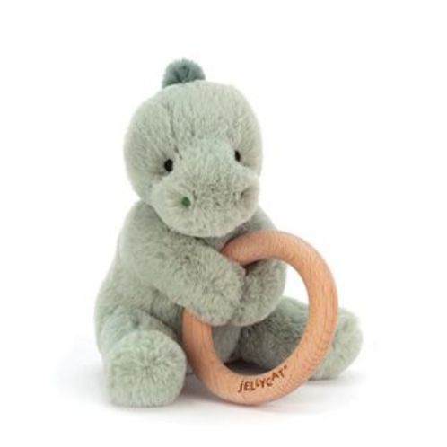 Jellycat Shooshu Dino Wooden Ring Toy