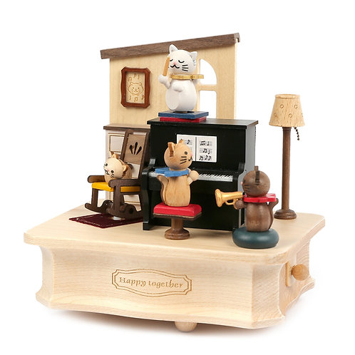 Wooderful Life Cat Play Piano Music Box