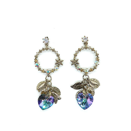 Swarovski Crystal Heart with Leaves Earring