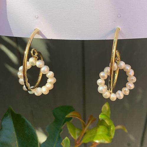 Golden Spiral and Pear Hoop Earrings