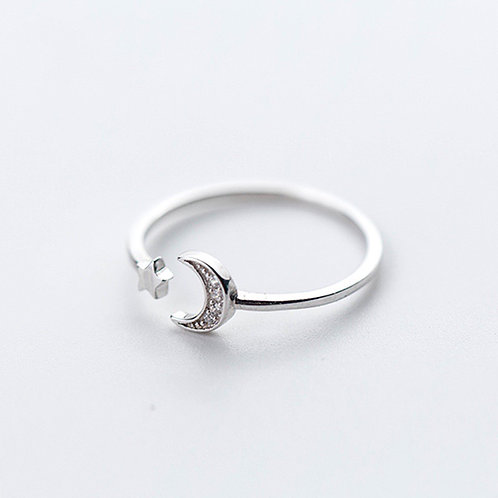 Dainty Star and Moon Open Ring