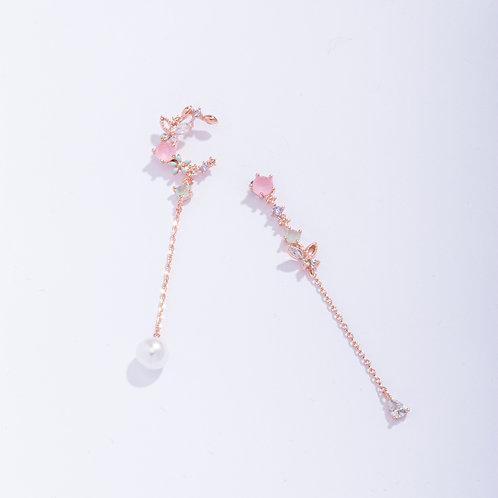 Floral Crescent Asymmetric Drop Earring - MOOII