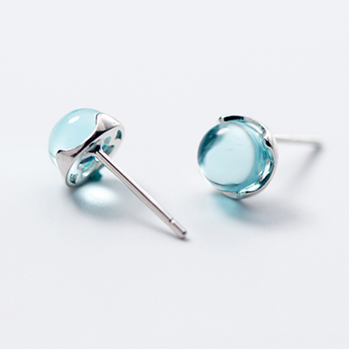 Sweet Aqua Blue Sterling Silver Ear Studs - MOOII