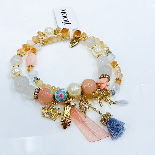 MOOII Handcrafted Bracelet - Pink and Cream Beads with Crown and Bow Tie Pendant