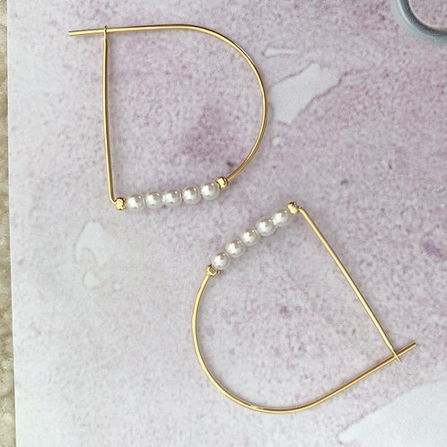 Golden D Sharp Earring Hoops with Pearls