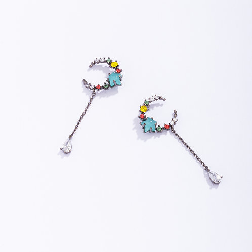 Multicolored Crescent CZ Drop Earring - MOOII