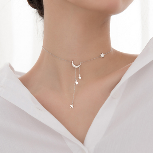 Swinging Moon and Star Choker Necklace - MOOII