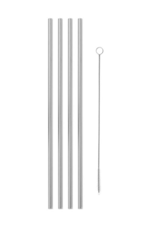 Metal Straws 10in W/Cleaner (Set 4) Porter