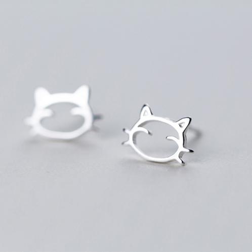 Little Kitten Sterling Silver Ear Studs - MOOII