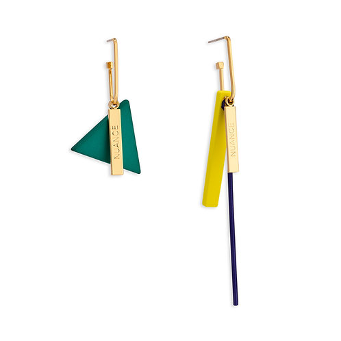 Green Triangle and Yellow Bar Dangle Earring - MOOII