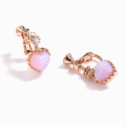 Pink Heart Clip on Earrings