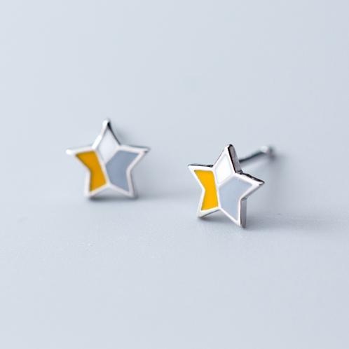 All Silver Pentagram Ear Studs