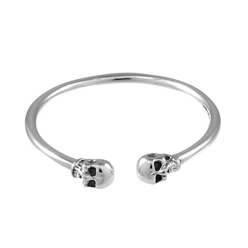 Double Skulls Sterling Silver Ring