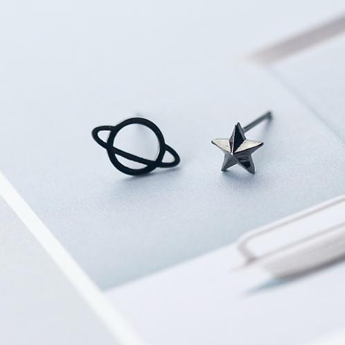 Black Orbit and Star Ear Studs - MOOII