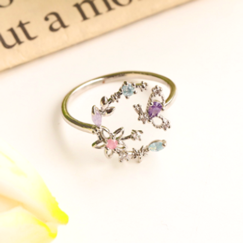 Lily Flower Wreath and Butterfly Ring - MOOII