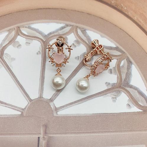 Mooii Heart-shaped Crystal Pearl Clip On Earrings