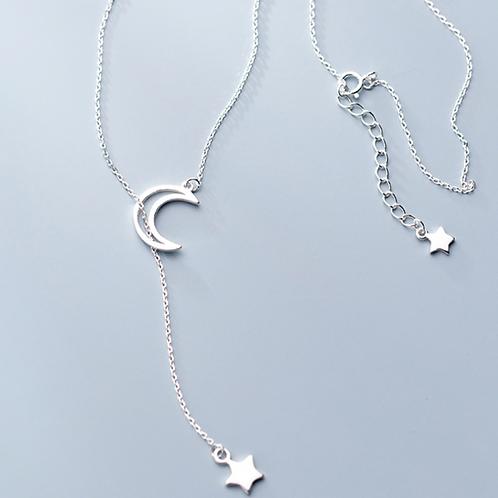 Hollow Moon & Star Tassel Necklace