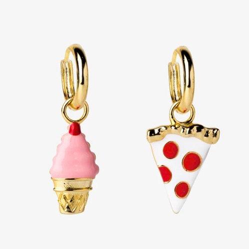 Pizza & Ice Cream Hoop Earrings
