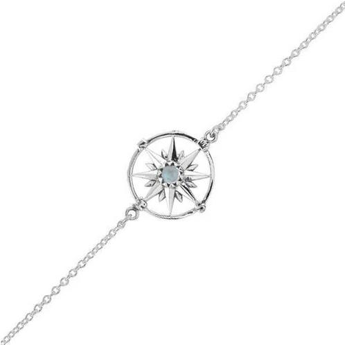 Guiding Light Compass Moonstone Sterling Silver Bracelet