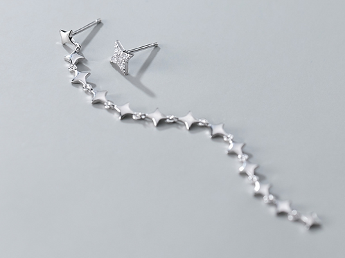 Long Asymmetric Compass Star Earring And Its Stud - Mooii