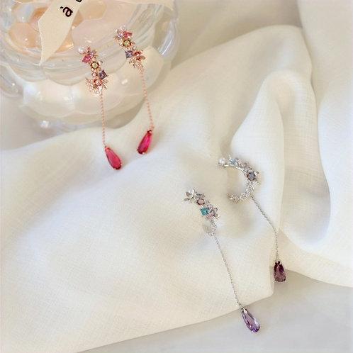 Flower Bouquet Crystal Dangle Earrings - MOOII