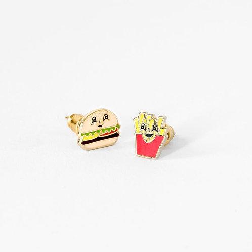 Yellow Owl Burger & Fries Earrings