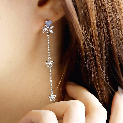 Heart Crystal Threader Earrings - MOOII