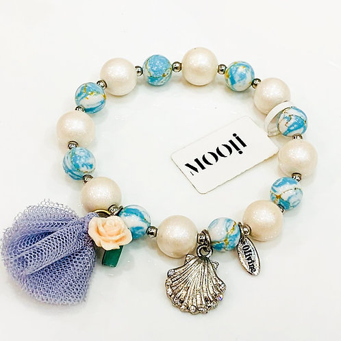 MOOII Handcrafted Bracelet - Blue and Pearl Beads with Shell Pendant